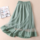 skirt Summer 2021 M, L green Mid length dress grace High waist A-line skirt Solid color Type A More than 95% other Other / other polyester fiber Mesh, stitching
