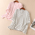 T-shirt Red stripe, black stripe S,M,L Autumn of 2019 Long sleeves V-neck Straight cylinder Regular routine commute cotton 31% (inclusive) - 50% (inclusive) Simplicity classic Thin horizontal stripe Other / other