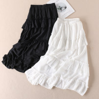 skirt Summer 2020 S, M White, black longuette Versatile High waist Ruffle Skirt Solid color Type A More than 95% Other / other other Fold, wave
