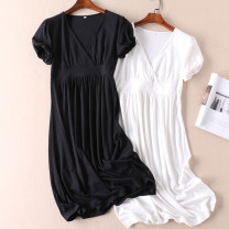 Dress Summer 2020 Black, white S,M,L,2L Mid length dress singleton  Short sleeve commute V-neck High waist Solid color Socket A-line skirt other Others Type H Other / other Simplicity 51% (inclusive) - 70% (inclusive) cotton