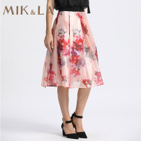 skirt Spring of 2019 S M L XL XXL Mid length dress gorgeous Natural waist A-line skirt Decor Type A 35-39 years old More than 95% MIK&LA polyester fiber printing Polyester 100%