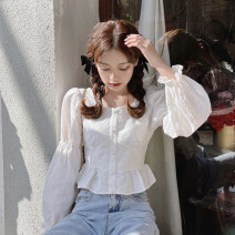 shirt white Average size Spring 2021 polyester fiber 71% (inclusive) - 80% (inclusive) Long sleeves commute Short style (40cm < length ≤ 50cm) square neck Single row multi button puff sleeve Solid color 18-24 years old Straight cylinder Korean version Button