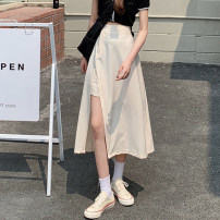 skirt Summer 2021 Average size Apricot, black Mid length dress commute High waist A-line skirt Solid color Type A 18-24 years old Button Korean version