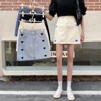 skirt Spring 2021 S,M,L,XL Apricot, light blue, dark blue, white, black Short skirt commute High waist A-line skirt other Type A 25-29 years old Embroidered, pocket, worn, button, zipper Korean version