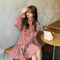 Dress Spring 2021 Red, black Average size Mid length dress singleton  Long sleeves commute stand collar Loose waist Broken flowers A-line skirt routine Others 18-24 years old Type A Korean version