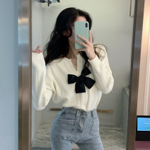 Wool knitwear Winter 2020 Average size white Long sleeves singleton  Socket acrylic fibres More than 95% have cash less than that is registered in the accounts routine commute easy V-neck routine Solid color Socket Korean version 18-24 years old bow