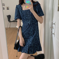 Dress Summer 2021 Dark blue S,M,L Mid length dress singleton  Short sleeve commute square neck High waist Broken flowers Socket A-line skirt puff sleeve Others 18-24 years old Type A Korean version 30% and below other other