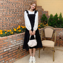 Dress Spring 2021 Single piece of skirt and shirt Average size Mid length dress Two piece set Sleeveless commute High waist Solid color A-line skirt straps 18-24 years old Type A Korean version