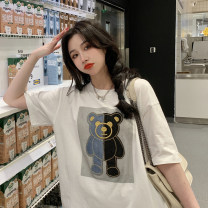 T-shirt White, black Average size Spring 2021 Short sleeve Crew neck easy Medium length routine commute cotton 96% and above 18-24 years old Korean version youth Color matching printing