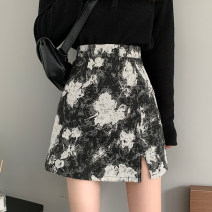 skirt Summer 2021 S,M,L White flowers on a black background , Blue flower on white background Short skirt commute High waist A-line skirt other Type A 18-24 years old Korean version