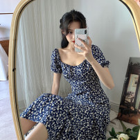 Dress Summer 2021 White, Navy S,M,L longuette singleton  Short sleeve commute square neck High waist Broken flowers Socket A-line skirt puff sleeve Others 18-24 years old Type A Korean version 30% and below other other