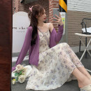 Dress Summer 2021 Purple cardigan, floral suspender skirt Average size Mid length dress Two piece set Sleeveless commute High waist Broken flowers A-line skirt other camisole 18-24 years old Type A Korean version