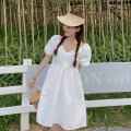 Dress Summer 2021 White, blue, yellow Average size Short skirt singleton  Short sleeve commute square neck High waist Solid color A-line skirt puff sleeve Others 18-24 years old Type A Korean version
