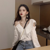 shirt white Average size Spring 2021 polyester fiber 71% (inclusive) - 80% (inclusive) Long sleeves commute Regular V-neck other other Solid color 18-24 years old Straight cylinder Korean version