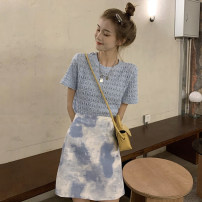 Fashion suit Summer 2021 S. M, average size White jacket piece, blue jacket piece, blue skirt piece, black and gray skirt piece 18-25 years old