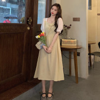 Dress Summer 2021 Blue, yellow S, M Mid length dress singleton  Short sleeve commute square neck High waist other A-line skirt puff sleeve Others 18-24 years old Type A Korean version Pleating