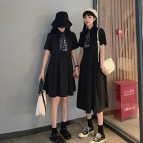 Dress Summer 2021 Black short, orange short, black long, orange long Average size Short skirt singleton  Short sleeve commute Polo collar High waist Solid color Single breasted A-line skirt routine Others 18-24 years old Type A Korean version Button 30% and below other other