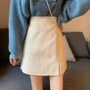 skirt Spring 2021 S,M,L Black, apricot, brown Short skirt commute High waist A-line skirt Solid color Type A 18-24 years old More than 95% polyester fiber zipper Korean version