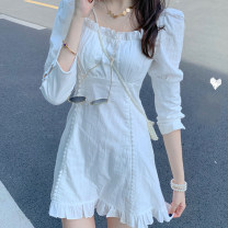 Dress Spring 2021 white S,M,L,XL Short skirt singleton  Nine point sleeve commute square neck High waist Solid color Socket A-line skirt routine Others 18-24 years old Type A Korean version
