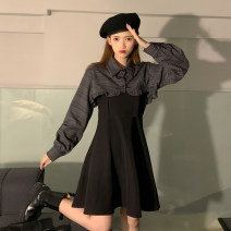 Dress Spring 2021 Plaid top piece, black strap skirt piece S. M, average size Short skirt Two piece set Sleeveless commute High waist Solid color A-line skirt camisole 18-24 years old Type A Korean version