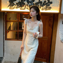 Dress Summer 2021 Wave point Average size longuette singleton  Sleeveless commute other High waist Dot A-line skirt camisole 18-24 years old Type A Korean version Wave, button, 3D