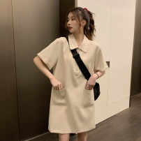 Dress Summer 2021 Apricot, black Average size Short skirt singleton  Short sleeve commute Polo collar Loose waist Solid color Socket other routine Others 18-24 years old Type H Korean version pocket 30% and below other other