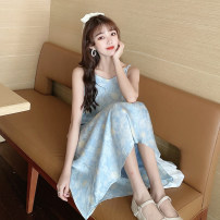 Dress Summer 2021 White shirt, apricot shirt, blue dress and yellow dress Average size longuette singleton  Sleeveless commute V-neck Loose waist Decor Socket A-line skirt other camisole 18-24 years old Type A Korean version 30% and below
