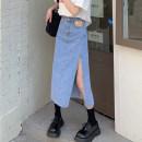 skirt Summer 2021 S,M,L,XL Blue, black Mid length dress commute High waist Denim skirt Solid color Type A 18-24 years old Korean version
