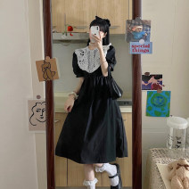 Dress Summer 2021 White, black Average size Short skirt singleton  Sleeveless commute V-neck High waist Solid color Single breasted A-line skirt puff sleeve straps 18-24 years old Type A Korean version backless