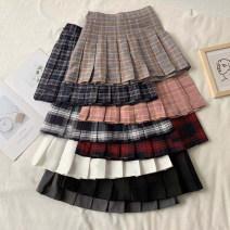 skirt Autumn 2020 XS,S,M,L Black, white, gray, khaki, dark blue, pink, red black, blue white Short skirt commute High waist Pleated skirt lattice Type A 18-24 years old fold Korean version