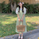 Dress Summer 2021 Floral Shirt piece, green skirt piece, apricot skirt piece Average size Mid length dress singleton  Sleeveless commute other Loose waist Solid color Socket A-line skirt routine camisole 18-24 years old Type A Korean version