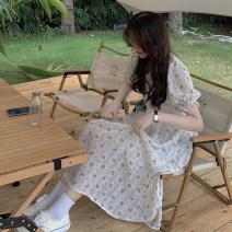 Dress Summer 2021 Apricot Average size Mid length dress singleton  Short sleeve commute V-neck High waist Decor Socket Princess Dress puff sleeve Others 18-24 years old Type A Korean version