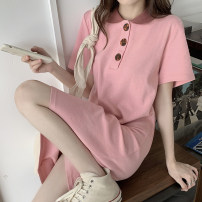 Dress Spring 2021 Black, pink Average size Mid length dress singleton  Short sleeve commute Polo collar Loose waist Solid color Socket other routine Others 18-24 years old Type H Korean version Button