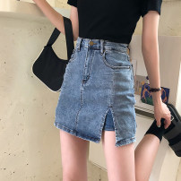 skirt Spring 2021 S,M,L,XL blue Short skirt commute High waist skirt Solid color Type A 18-24 years old Korean version