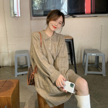 Dress Spring 2021 Gray, oatmeal Average size Mid length dress singleton  Long sleeves commute High collar Loose waist Solid color Socket A-line skirt routine Others 18-24 years old Type A Korean version