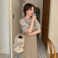 Dress Spring 2021 Apricot jacket piece, blue jacket piece, khaki strap skirt piece, black strap skirt piece Average size Mid length dress Two piece set Sleeveless commute other Loose waist Solid color other other straps 18-24 years old Type A Korean version