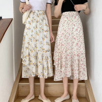 skirt Summer 2021 Average size Red, yellow Mid length dress commute High waist Irregular Decor Type A 18-24 years old 30% and below other other Asymmetry Korean version
