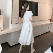 Dress Spring 2021 white S, M longuette singleton  Short sleeve commute other High waist Solid color A-line skirt other Others 18-24 years old Type A Korean version