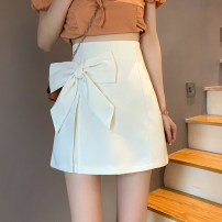 skirt Summer 2021 S,M,L White, black Short skirt commute low-waisted A-line skirt Solid color Type A 18-24 years old 30% and below other other Bow, zipper Korean version