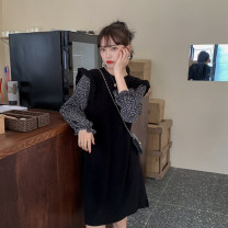 Dress Spring 2021 Apricot mosaic, black mosaic Average size Middle-skirt singleton  Long sleeves commute Crew neck Loose waist other Socket other puff sleeve Others 18-24 years old Type A Korean version More than 95% polyester fiber