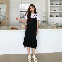 Dress Summer 2021 black M, L Miniskirt singleton  Sleeveless commute V-neck Loose waist Solid color Socket Irregular skirt other camisole 18-24 years old Type A Korean version 30% and below other other