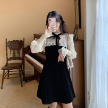 Dress Spring 2021 Black, pink S, M Short skirt Fake two pieces Long sleeves commute other High waist other A-line skirt other Others 18-24 years old Type A Korean version