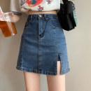 skirt Summer 2021 S,M,L,XL Blue, black Short skirt commute High waist skirt Solid color Type A 18-24 years old 30% and below other other Pocket, button, zipper Korean version