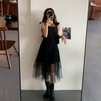 Dress Spring 2021 Average size Mid length dress singleton  Sleeveless commute square neck High waist Solid color Socket A-line skirt routine camisole 18-24 years old Type A Korean version