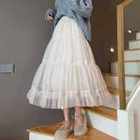 skirt Spring 2021 Average size Black, apricot longuette commute High waist Cake skirt Solid color Type A 18-24 years old fold Korean version