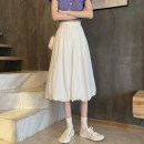 skirt Summer 2021 S,M,L White, black Mid length dress commute High waist A-line skirt Solid color Type A 18-24 years old 30% and below other other Korean version