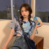 T-shirt Deep blue, purple gray, ink white, cream orange, midnight black Average size Summer 2021 Short sleeve Crew neck Straight cylinder have cash less than that is registered in the accounts routine commute other 30% and below 18-24 years old Korean version youth