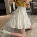 skirt Summer 2021 Average size White, black Short skirt commute High waist A-line skirt Solid color Type A 18-24 years old 30% and below other other Lotus leaf edge Korean version