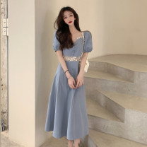 Dress Summer 2021 blue S, M longuette singleton  Short sleeve commute square neck High waist Solid color Socket A-line skirt puff sleeve Others 18-24 years old Type A Korean version Button, lace 30% and below