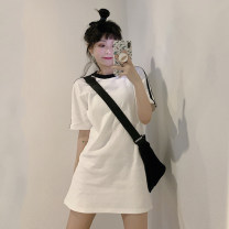 Dress Summer 2021 White dress piece, white T-shirt piece, white skirt piece Average size Short skirt singleton  Short sleeve commute Crew neck High waist other A-line skirt routine Others 18-24 years old Type A Korean version